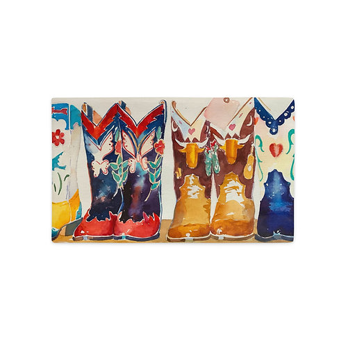 12x20 Premium Pillow Case, Row of Boots (oblong), by Roberta Rogers