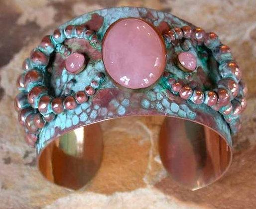 "Verdigris Patina Solid Brass ""Bubble"" Cuff - Rose Quartz"