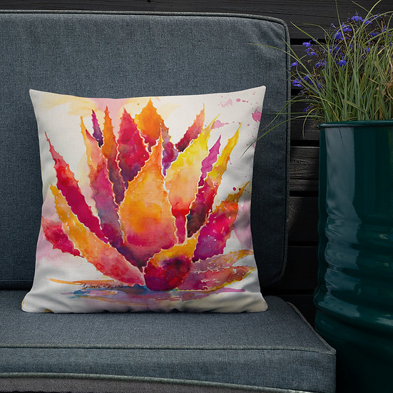 Premium Pillow, Ornge Agave by Roberta Rogers