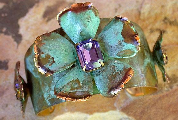 Sculptural Flowers Tapered Cuff - Swarovski Crystals