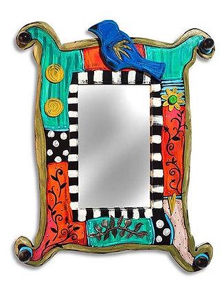 Funky Rectangular Mirror with Bird