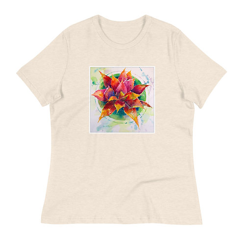 Women's Relaxed T-Shirt, Red Agave, by Roberta Rogers