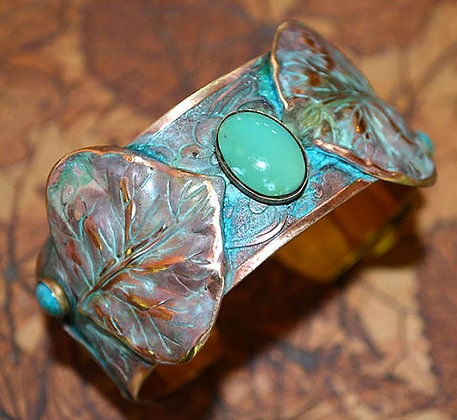 Solid Brass Aspen Leaves with Turquoise