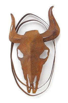 rustic metallic wall art (cow skull) at Tubac Art and Gifts