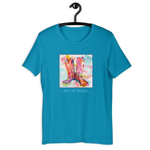 Short-Sleeve Unisex T-Shirt, Cowboy Boots, by Roberta Rogers