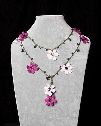 Lariat with Pomegranate Flowers - fushia