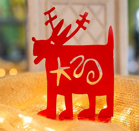 Reindog Red Tabletop Decoration
