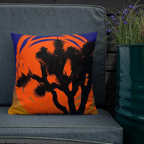 Premium Pillow with vibrant desert sun designed by Jen Prill