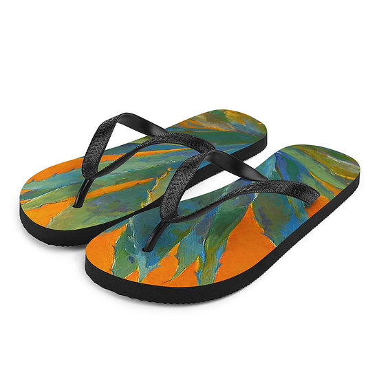 Flip-Flops, Orange Agave by Roberta Rogers