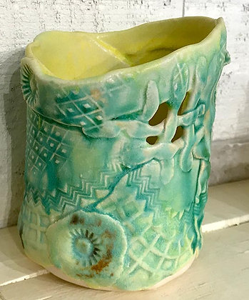 "5"" Round green/yellow Vase"