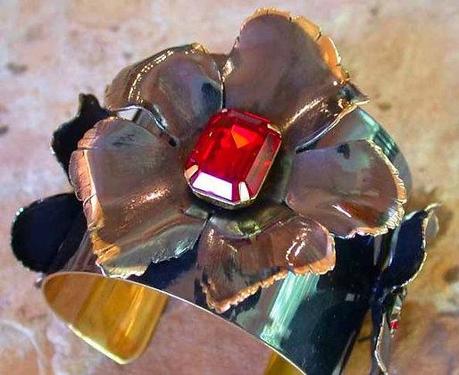 Gunmetal Solid Brass Sculptural Flowers Cuff - Swarovski Crystals