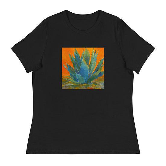 Women's Relaxed T-Shirt, Blue Agave, by Roberta Rogers