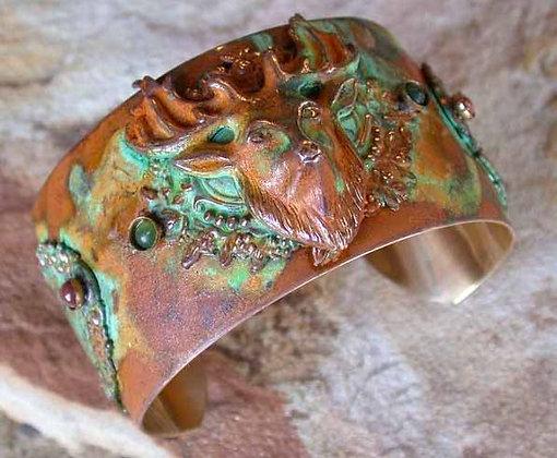 Olive Patina Brass Vintage Motif Deer Cuff - Nephrite Jade, Jasper