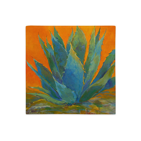 Premium Pillow Casem Blue Agave, by Roberta Rogers