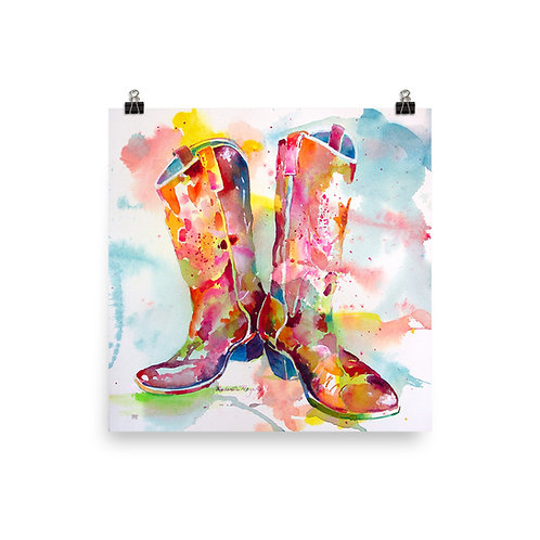 Photo paper poster Cowboy Boots by Roberta Rogers