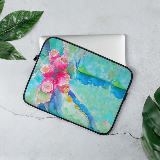 Laptop Sleeve Prickly Pear by Tubac artist, Roberta Rogers
