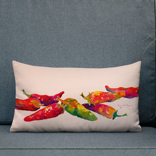 12x20 Premium Pillow, Row of Chilis, By Roberta Rogers