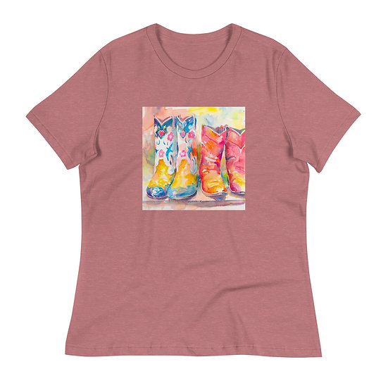 Women's Relaxed T-Shirt, Cowgirl Boots2, by Roberta Rogers
