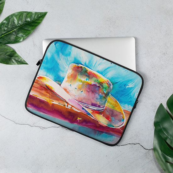 Laptop Sleeve with Cowboy Hat by Roberta Rogers