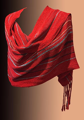 Hand Woven Shawl-red
