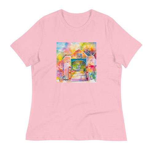 Women's Relaxed T-Shirt, Adobe Gate, by Roberta Rogers