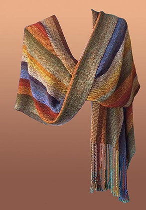 Hand Woven Shawl-tan, blue, olive