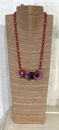 Blown Rose Glass Necklace