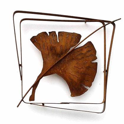 Rusted Metal Ginkgo Leaf