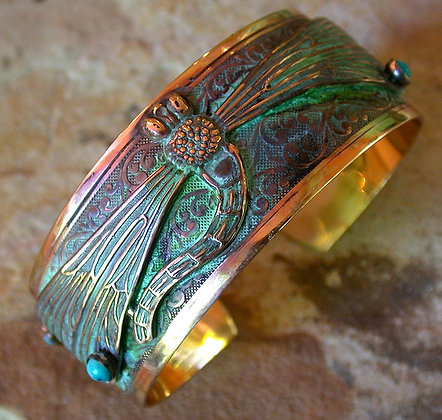 Brass Decorative Dragonfly Cuff - Turquoise