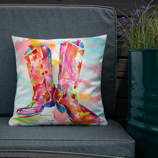 Premium Pillow, Cowgirl Boots, by Roberta Rogers