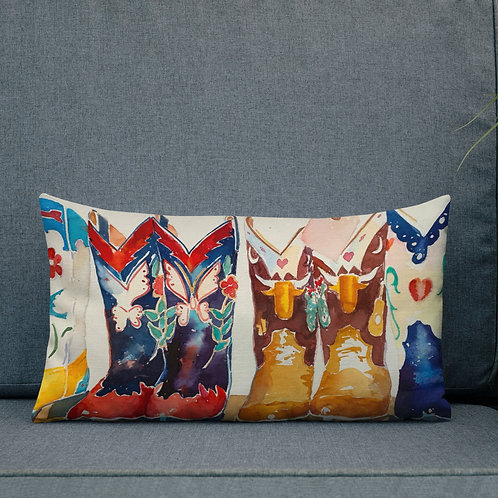 12 x 20 Premium Pillow, Row of Boots, by Roberta Rogersa