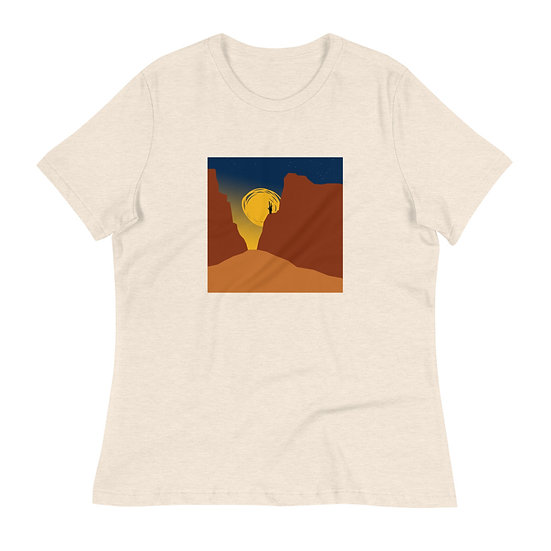 Women's Relaxed T-Shirt, Tubac T with desert cliffs