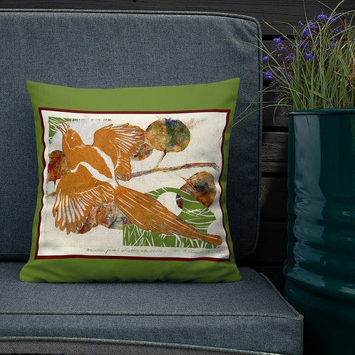 Premium Pillow that's every birder's dream, by Ouida Touchon