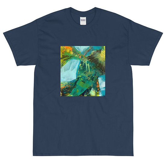 Men's Short Sleeve T-Shirt, Abstract in Blue by Jen Prill