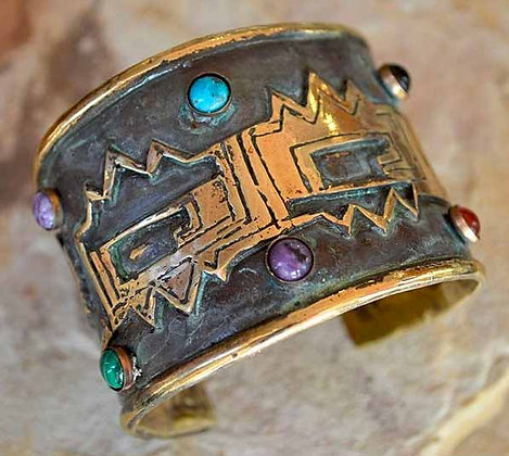 "Solid Brass Mohave Collection 2"" Wide Cuff with Semi-precious Stones"