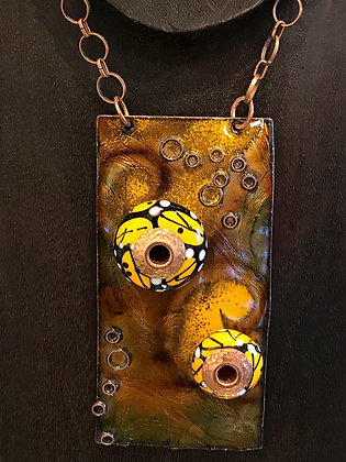 Copper and Torched Glass Necklace