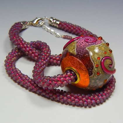Woven Bead Necklace with Glass Bead Pendant