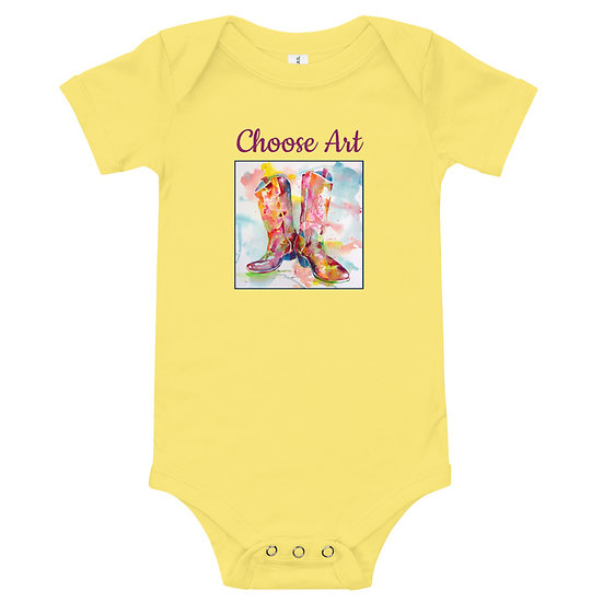 Baby T-Shirt with cowboy boot design by Tubac artist Roberta Rogers