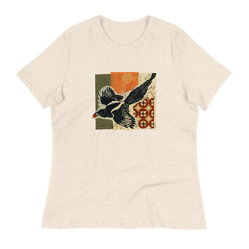 Women's Relaxed T-Shirt, Raven 1, by Ouida Touchon