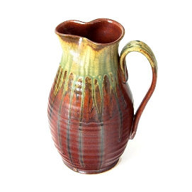 Pitcher with green ash glaze
