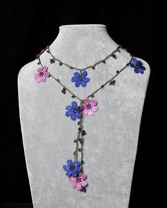Lariat with Pomegranate Flowers - Pink and Blue