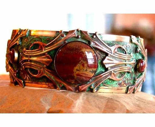Verdigris Patina Solid Brass Cuff - Bracciated Jasper