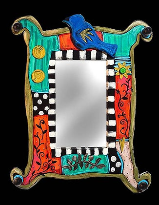 E. Drumm whimsical wooden handmade mirror at Tubac Art and Gifts