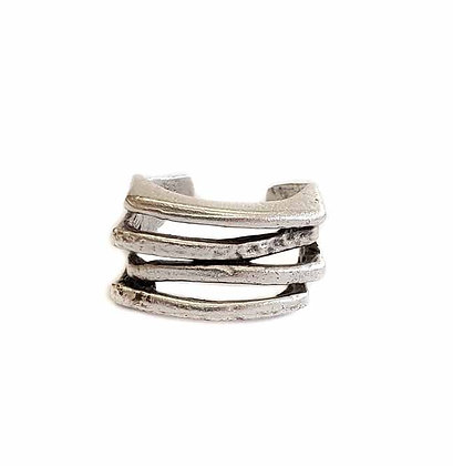 Pewter 4 Bands Ring