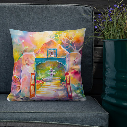 Premium Pillow, Mexican Gate, by Roberta Rogers