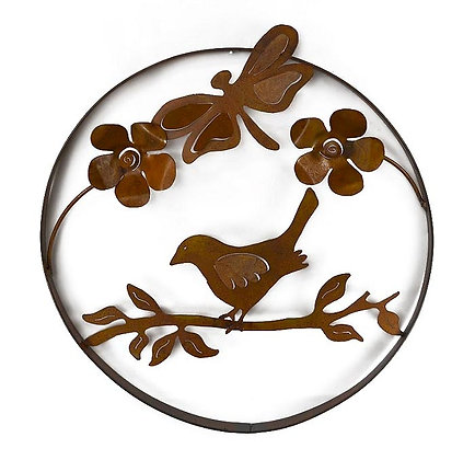 Bird on Branch with Dragonfly and Flowers Metal Wall Sculpture