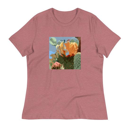 Women's Relaxed T-Shirt, Prickly Pear Bloom, bu Jen Prill