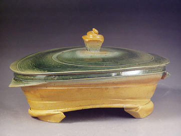 Oval Arched Casserole Dish, green/yellow