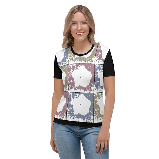 Women's T-shirt with earth tone moon flower design