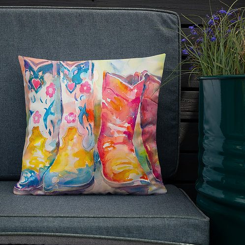 Premium Pillow, Cowgirl Boots X2, by Roberta Rogers